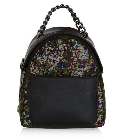 Black Sequin Mini Backpack - New Look