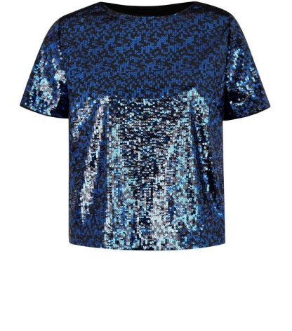 Navy Sequin T-Shirt - New Look